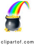 Vector of Rainbow Ending in Full Pot of Gold by AtStockIllustration
