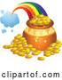 Vector of Rainbow Shooting from a Cloud and Landing Behind a Pot of Gold by BNP Design Studio