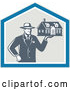 Vector of Real Estate Agent Man Holding a House in a Shield by Patrimonio