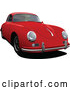Vector of Red Porsche 356 Car Front Side Angle by