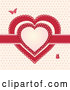 Vector of Red Ribbon and Doily Valentine Hearts with Butterflies by Elaineitalia