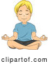 Vector of Relaxed Blond White Boy Meditating by BNP Design Studio