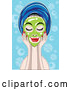 Vector of Relaxed Lady Touching a Green Mask on Her Face, Her Hair in a Towel by Mayawizard101
