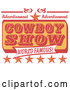 Vector of Retro Advertisement for a World Famous Cowboy Show with Stars by Andy Nortnik