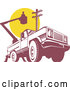 Vector of Retro Bucket Truck with an Electrican and Pole by Patrimonio