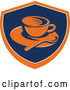 Vector of Retro Coffee Cup, Spoon and Saucer in an Orange Blue and Tan Shield by Patrimonio