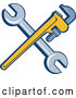 Vector of Retro Crossed Spanner and Monkey Wrenches by Patrimonio
