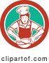 Vector of Retro Female Chef Mixing Ingredients in a Bowl Inside a Red White and Green Circle by Patrimonio