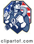 Vector of Retro Fire Fighter Guy Holding a Hose on His Shoulders over an American Flag by Patrimonio