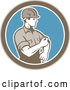 Vector of Retro Male Construction Worker Rolling up His Sleeve in a Brown White and Blue Circle by Patrimonio