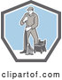 Vector of Retro Male Custodian Janitor in a Shield by Patrimonio