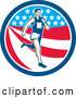Vector of Retro Male Marathon Runner over an American Stars and Stripes Circle by Patrimonio
