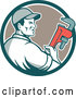 Vector of Retro Male Plumber Holding a Monkey Wrench and Looking to the Side in a Teal White and Tan Circle by Patrimonio