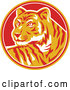 Vector of Retro Tiger in a Yellow, Red and White Circle by Patrimonio