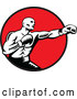 Vector of Retro Woodcut Black and White Male Boxer Jabbing in a Red Circle by Patrimonio