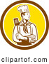 Vector of Retro Woodcut Male Chef with a Spatula in a Brown and Yellow Circle by Patrimonio
