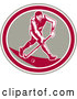 Vector of Retro Woodcut Male Field Hokey Player in a Taupe White and Pink Oval by Patrimonio