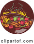 Vector of Retro Woodcut Still Life of Harvest Vegetables and Fruit with Trees in a Brown Circle by Patrimonio