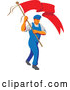 Vector of Retro Wpa Styled Male Worker Marching Wtih a Flag by Patrimonio