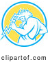 Vector of Retro Zeus Holding a Thunder Bolt in a Blue White and Yellow Circle by Patrimonio