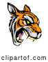 Vector of Roaring Aggressive Tiger Mascot Head by AtStockIllustration