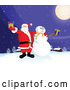 Vector of Santa Claus and Frosty the Snowman Standing Under a Full Moon, Outside on a Snowy Wintry Night, Holding Christmas Presents by Paulo Resende