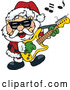 Vector of Santa Claus Playing a Guitar by Dennis Holmes Designs