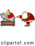 Vector of Santa Transporting Elf by Rocket Launch by Djart