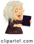 Vector of Scary Old Hag Lady Holding a Spell Book by BNP Design Studio