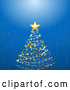 Vector of Scribble, Snow and Star Christmas Tree over a Blue Glowing Background by Elaineitalia