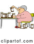 Vector of Senior Lady Comparing Medications by Djart