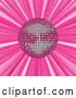 Vector of Shiny Pink Mirror Disco Ball Spinning Suspended over a Pink Bursting Background by Elaineitalia