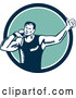Vector of Shot Put Athlete Guy Throwing in a Blue White and Turquoise Circle by Patrimonio