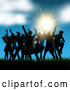 Vector of Silhouetted Crowd Dancing in Grass Against a Sunset and Blue Sky by KJ Pargeter