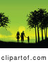 Vector of Silhouetted Family Holding Hands and Walking Between Trees Against a Green Sunset by KJ Pargeter