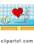 Vector of Silly Robot in Love, Holding a Red Heart Valentine out to a Toaster on a Kitchen Counter by