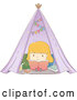 Vector of Sketched Blond White Girl Reading a Book in a Tent by BNP Design Studio
