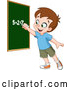 Vector of Smart School Boy Solving an Addition Math Problem on a Chalk Board by Yayayoyo
