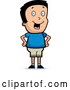 Vector of Smiling Cartoon Boy Standing with His Hands on His Hips by Cory Thoman