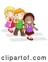 Vector of Smiling Diverse Cartoon School Kids Walking on Crosswalk Together by BNP Design Studio