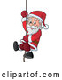 Vector of Smiling Santa Sliding down a Rope by Visekart