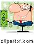 Vector of Smiling White Businessman Holding Cash and One Hand Behind His Back, over Green Question Marks by Hit Toon