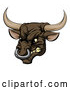 Vector of Snarling Aggressive Bull Mascot Head by AtStockIllustration