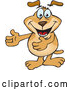 Vector of Sparkey Dog Gesturing with His Arms out to the Left by Dennis Holmes Designs