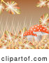 Vector of Sparkling Autumn Leaves and Grasses Around a Mushroom on Brown by Kaycee