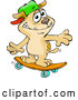 Vector of Sporty Brown Dog Wearing a Hat and Skateboarding by Dennis Holmes Designs