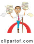 Vector of Stressed Cartoon Business Man Carrying Stacks of Papers While Walking on a Tightrope by AtStockIllustration