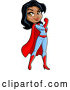 Vector of Strong Black Female Super Hero Flexing Her Bicep by Clip Art Mascots