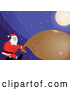 Vector of Strong Santa Pulling Heavy Gift Sack Under a Bright Moon on a Snowy Christmas Eve Night by Paulo Resende