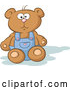 Vector of Stuffed Teddy Bear Sitting and Wearing Blue Overalls by